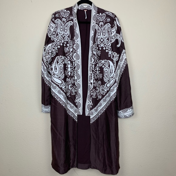Free People Printed Long Kimono Jacket
